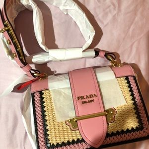 11f04f4b28a Prada Bags   Cahier In Pink Straw And Leather   Poshmark